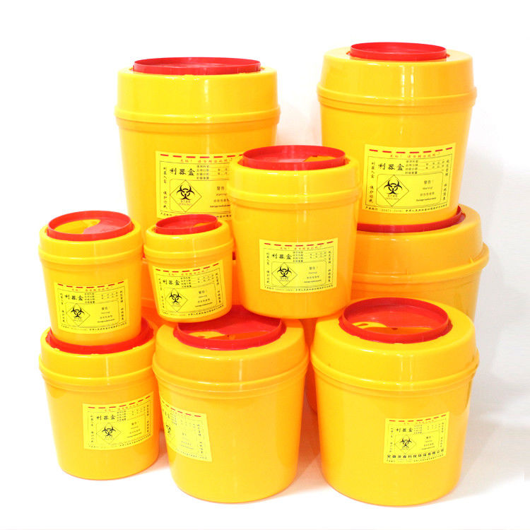 Medical Sharps Disposal Container Waterproof Round PVC Plastic Box Sharps